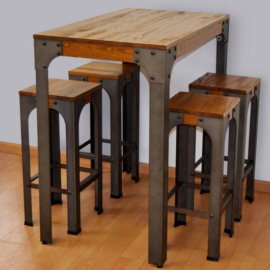 Mesa alta de cocina con taburetes, el estilo vintage que te enamorará